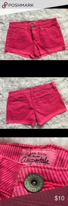 Preloved Aeropostale Pink Striped Shorts Preloved item❤️ Aeropostale Neon Pink shorts with vertical stripes and rolled hem. Aeropostale Shorts Jean Shorts