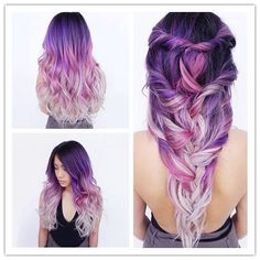 Best Ombre Hair – 41 Vibrant Ombre Hair Color Ideas Dark to Light Purple Ombre Hair Color //. Did you know that most dudes won't even actually notice your clothing. 33 Try Grey Ombre Hair This Season 25 besten kurzen lila Frisuren Hair Color Purple, Cool Hair Color, Purple Ombre, Lilac Hair, Ombre Color, Blue Hair, White Hair, Pastel Ombre Hair, White Ombre