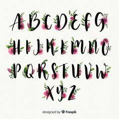 Beautiful alphabet with flowers Free Vector Caligraphy Alphabet, Hand Lettering Alphabet, Alphabet Design, Calligraphy Letters, Pretty Fonts Alphabet, Journal Fonts, Bullet Journal Writing, Bullet Journal Ideas Pages, Lettering Styles