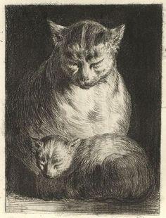 """Jean Jacques de Boissieu (French, 1736–1810) - """"La chatte et son petit"""""""