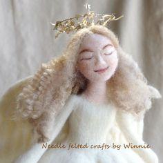 White Angel tree topper handmade Needle felted by FunFeltByWinnie