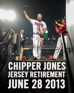 The Atlanta Braves will honor former third baseman and legendary switch-hitter Chipper Jones on Friday, June 28th by inducting him into the Braves Hall of Fame and retiring his uniform number 10.    The induction will take place at a special luncheon and the uniform number retirement will occur in a pregame ceremony that night before the Braves take on the Arizona Diamondbacks.    Be sure to get your tickets for both events at:  www.Braves.com/Chipper