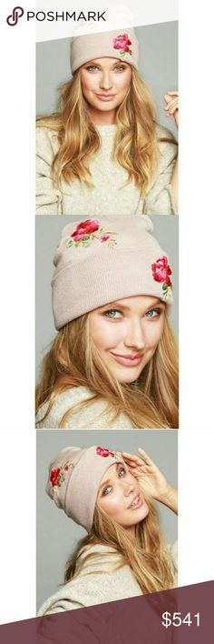 Coming! Dusty Rose Embroidered Beanie! Stylish and fun! Keep warm in this rose embroidered knit beanie! Pretty rose color! Right on trend! Happy shopping! Accessories Hats