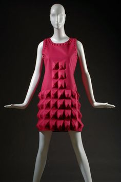 "Pierre Cardin, dress, fuchsia ""Cardine"" textile with molded 3D shapes, 1968, USA, gift of Lauren Bacall.  © 2012 The Museum at FIT"