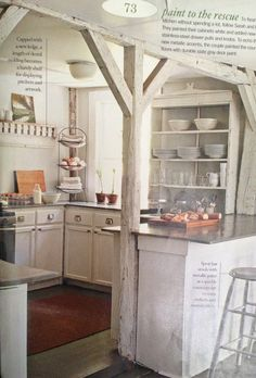 rustic kitchen with exposed beams