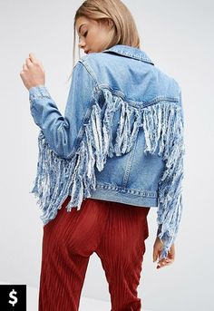 Shop ASOS Denim Jacket in Midwash Blue With Fringed Back. With a variety of delivery, payment and return options available, shopping with ASOS is easy and secure. Shop with ASOS today. Altered Couture, Asos Fashion, Denim Fashion, Latest Fashion Clothes, Fashion Outfits, Fashion Online, Fashion Styles, Stylish Outfits, Fashion Trends