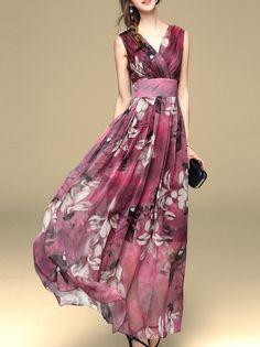 53ca67aab8 Multicolor V Neck Print Maxi Dress -SheIn(abaday) Summer Dresses 2017