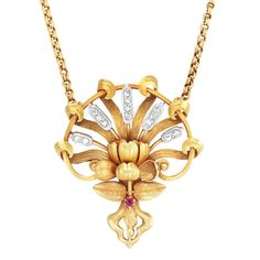- Art Nouveau Gold, Platinum, Diamond and Ruby Pendant-Brooch, Andre Rambour, with Gold Chain, France