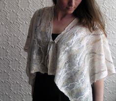 simple drape and fasten of a nuno felt art shawl by Nancy Dorian