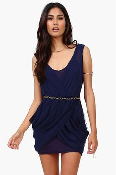 All Chained Up Dress in Navy @Pascale Lemay De Groof