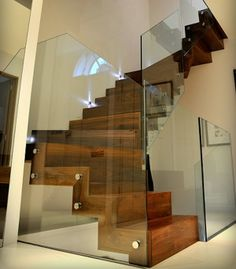 Staircase Glass Railing Design Ideas, Pictures, Remodel, and Decor Glass Stairs, Glass Railing, Glass Walls, Interior Railings, Interior Stairs, Railing Design, Staircase Design, Interior Design Images, Interior Design Living Room