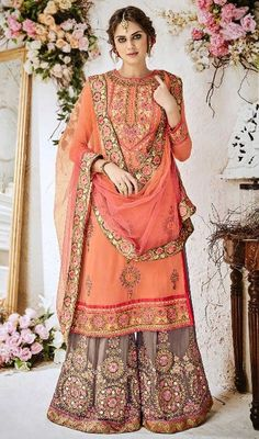 Palazzo Suit in Orange Color Shaded Georgette Pakistani Dresses, Indian Dresses, Orange Color Shades, Sharara Designs, Palazzo Suit, Pretty Dresses, Long Dresses, Indian Designer Wear, Indian Wear