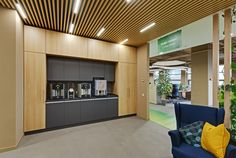 Office Canteen, Green Office, Office Space Design, Lounge, Layout, Interior Design, Furniture, Centre, Training