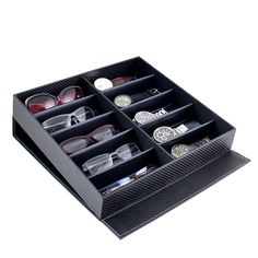 Buy Caddy Bay Collection Carbon Fiber Pattern Large Sunglasses Case Display Storage Watch Box with 10 Slots Ikea Closet, Room Closet, Sunglasses Storage, Sunglasses Case, Mens Closet Organization, Bedroom Organization, Watch Storage, Watch Organizer, Display Case
