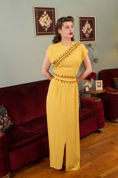 Vintage 1940s Dress Lemon Yellow Studded Evening Gown by FabGabs