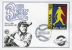 Guyana, 1995 100 Años del Nacimiento de Babe Ruth Tarjeta conmemorativa con sello de cancelación: a) Ilustración de Babe Ruth y b) Timbre conmemorando los 100 años de nacimiento de Babe Ruth.