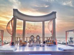 Unique beach side wedding mandap