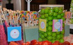 Rainbow garden birthday party candy bar