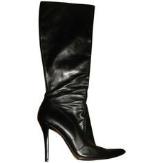 Pre-owned Stuart Weitzman Bw97233 Leather Knee High Black Boots ($113) ❤ liked on Polyvore featuring shoes, boots, black, black stiletto boots, stiletto boots, black pointed toe boots, black knee-high boots and black stilettos