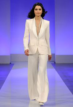 9 White Wedding Pant Suits!:  Shawl Collar Pant Suit by Cymbeline