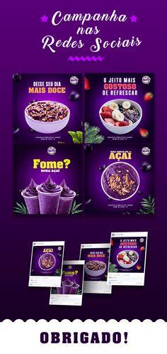 Social Media I Açaí on Behance Social Media Poster, Social Media Branding, Social Media Banner, Social Media Template, Social Media Design, Social Media Marketing, Food Graphic Design, Web Design, Creative Advertising