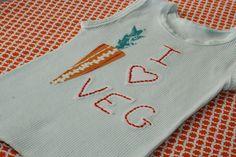 Unisex Baby 'I LOVE VEG' Carrot Mint Singlet/Tank. $18.00, via Etsy.