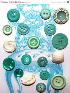 All My Loving Vintage Aqua and Cream Buttons by ScrappyBird,