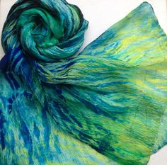 Hand dyed silk habotai scarf large Ripples by Artsbyartemis Recycled Dress, Shibori, Tie Dye Skirt, Design Art, Dyed Silk, Trending Outfits, Unique Jewelry, Textiles, Etsy