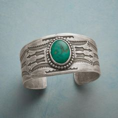 The silversmith Buffalo surrounds brilliant turquoise with a sterling silver bezel and bead ball edging on a weighty, handstamped sterling ' Handmade in USA. x tapers to Turquoise Cuff, Turquoise Jewelry, Turquoise Bracelet, Silver Jewelry, Handmade Bracelets, Jewelry Bracelets, Handmade Jewelry, Bangles, Necklaces