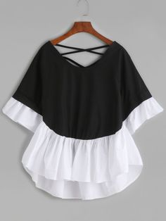 HDY Haoduoyi Color Block Women Fashion Casual Tops White Contrast Black Ruffle Loose Tops Street Natural O Neck Female TopsColor Block Lattice-Back Ruffle Sleeve Blouse -SheIn(Sheinside) Mobile SiteMaterial: PolyesterFabric Type: BroadclothSleeve Len Teen Fashion Outfits, Cool Outfits, Fashion Dresses, Fashion Pants, Moda Fashion, Womens Fashion, Frock Design, Mode Hijab, Looks Style