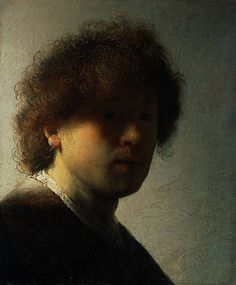 "Rembrandt (1606-1669) Self Portrait at an Early Age Oil on panel 1628 22.6 x 18.7 cm (8.9"" x 7.36"")"