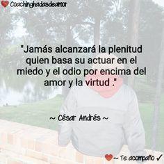 """""""Jamás alcanzará la plenitud quien basa su actuar en el miedo y el odio por encima del amor y la virtud .""""          ~ César Andrés ~"""
