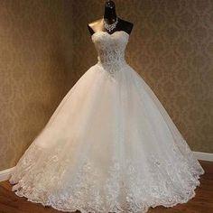 Luxury Sweetheart Rhinestone Beaded White Lace Wedding Dresses, Tulle Bridal Gown, WD0025