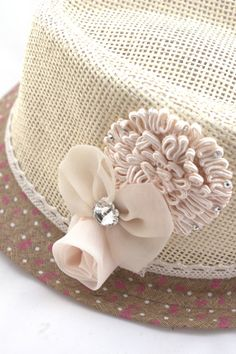 e5ffa369b64 Girls Fedora - PINK or IVORY flowers on a straw fedora hat - Toddler    Child hat with a lace strap.