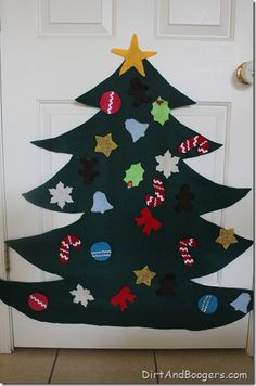Felt Christmas Tree.  A way for kids to decorate and redecorate their own christmas tree.  So easy to make and will keep for years!