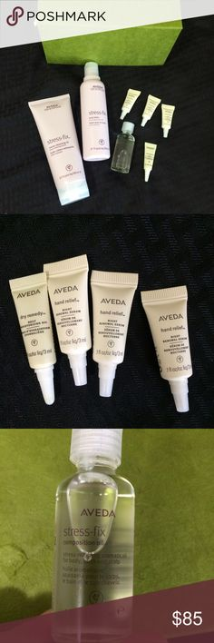 AVEDA Stress Relief Set Aveda Stress Fix Kit. Green box is Aveda's original packaging. The box has been opened, but these products have never been opened and are brand new. Set includes:   *Aveda Stress-fix cream cleansing oil 6.7oz ($28)  * Aveda Stess-fix body lotion 6.7 oz ($31)   *Aveda Night Relief hand renewal serum - 3 0.1 ounce bottles ($10ea size; $34 full Blt)  *Aveda Dry Remedy Daily moisturizing oil - 1 0.1 oz bottle ($29 full btl , $9.50/10ea)  * Aveda Stress Fix Composition oil…