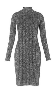 Marl ribbed roll neck dress