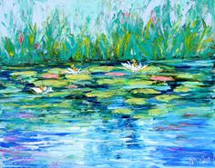Original oil painting Water Lilly Pond abstract by Karensfineart