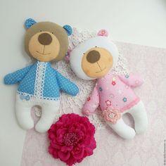Купить Мишка - белый, розовый, голубой, мишка, мишки, новорожденному, новорожденным, новорожденной девочке