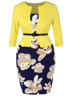 $13.80Floral Printed Belted Plus Size Dress in Yellow | Sammydress.com