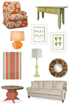 Cottage style furniture and cottage decorating ideas since Cottage furniture, 90 cottage colors, coordinated fabrics, rugs, inspiration boards and more. Cottage Style Living Room, Cottage Style Furniture, Cottage Style Decor, Living Room Orange, New Living Room, Living Area, Record Decor, Sewing Studio, Bungalows