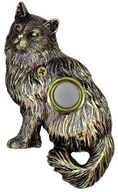 Brass plated cat doorbell cover