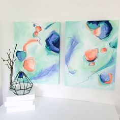 "Finishing up more pieces for upcoming Spring shows and this pair has all of my current favorite colors [18"" x 24"" each]"
