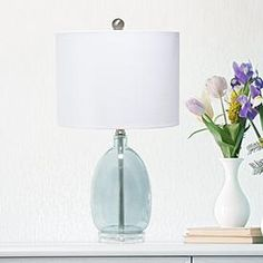 Lalia Home Clear Blue Oval Glass Accent Table Lamp Cheap Table Lamps, Metal Table Lamps, Ceramic Table Lamps, Table Lamp Sets, Glass Table, A Table, White Accent Table, White Table Lamp, Blue Glass Lamp