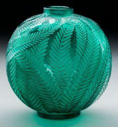 R. Lalique Green Glass Palmes Vase Circa 1923.