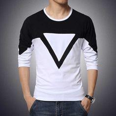 Men Triangle Print Cotton T-Shirt, Black-T-Shirts-LeStyleParfait. 3d T Shirts, Cool Shirts, Black And White T Shirts, Black Tops, Stylish Mens Outfits, Shirt Style, Men Casual, Casual Shoes, Mens Fashion