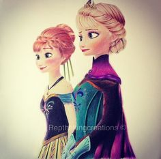 Anna and Elsa - drawing - Fan art - Disney fan art - Frozen art [prismacolor colored pencils]