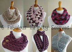 6 Fabulous Infinity Scarves To Crochet. Plus I love to Crochet but i never know what to do.
