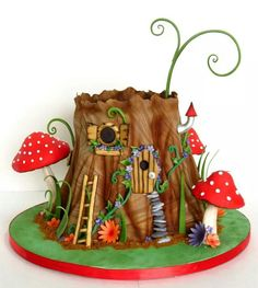 New cake decorating with fondant website 27 ideas - Cake Decorating Simple Ideen Fairy House Cake, Fairy Garden Cake, Garden Party Cakes, Fairy Cakes, Fairy Houses, Garden Theme Cake, Garden Art, Cake Decorating With Fondant, Birthday Cake Decorating