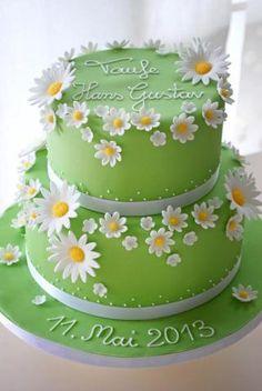 Elegant Birthday Cakes, Birthday Cake For Women Simple, Green Birthday Cakes, Number Birthday Cakes, Birthday Cake With Flowers, Wedding Cakes With Cupcakes, Simple Fondant Cake, Fondant Cake Designs, Fondant Flower Cake